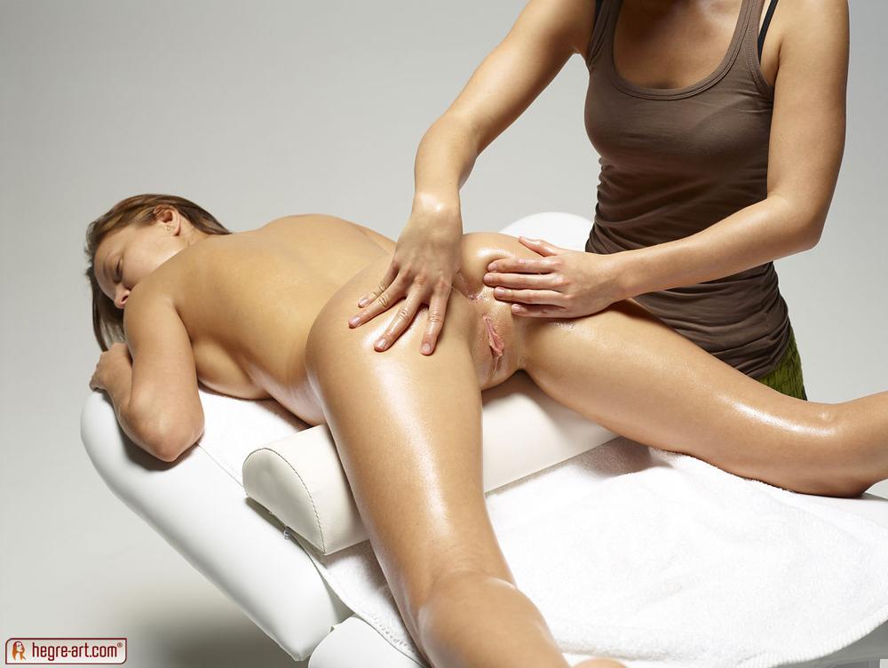Nude pics on massage table