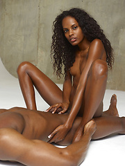 Erotic picture of Hot ebony girl doing handjob