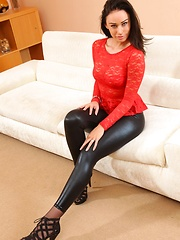 Erotic picture of Amazing brunette Claire teasing in skin tight leggings and stockings (Non Nude)