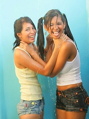 Erotic picture of Karla and Klimax get steamy in the shower and then skinny dip in the pool.