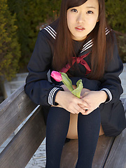 Erotic picture of Teen Kana Yuuki is schoolgirl with nice face and slender figure
