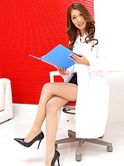 Erotic picture of Reika Miki on heels and in short skirt is doctor with sexy legs