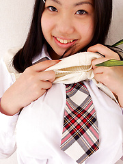 Erotic picture of Miho Takai Asian in school uniform is very playful before classes