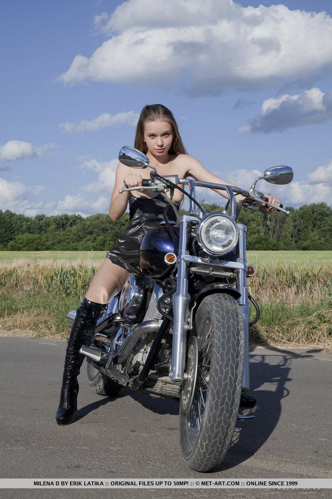 Boobs Nude Body Art On Motorcycle Photos